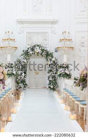 Wedding ceremony hall ready for couple and guests - stock photo