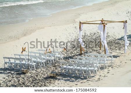 Wedding ceremony on a beach - stock photo