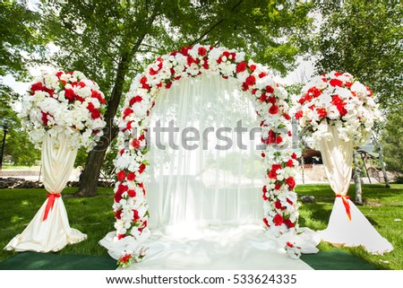 Wedding Ceremony Outdoors Wedding Arch Decorated Stock Photo ...