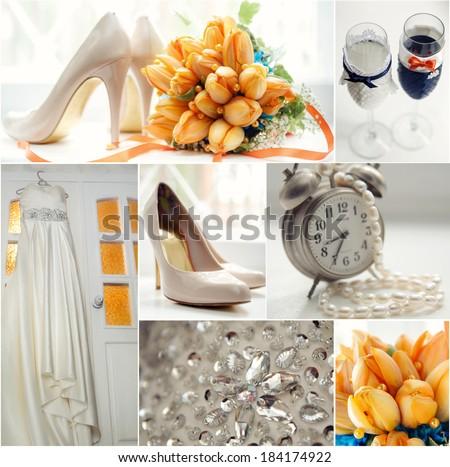 Wedding collage in orange color theme - stock photo