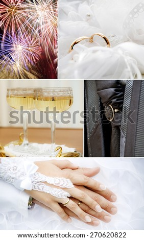 Wedding collage in white color theme - stock photo