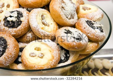 wedding cookies - traditional czech wedding meal - stock photo