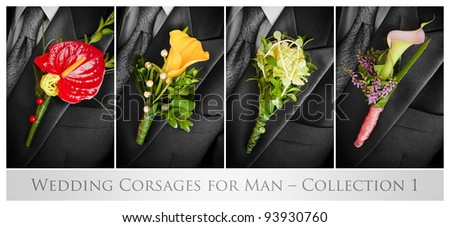 Wedding corsages for man – collection 1 - stock photo