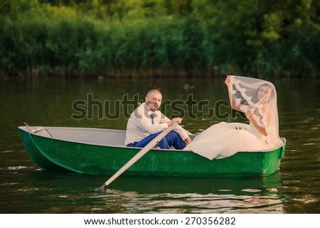 wedding couple boat lake