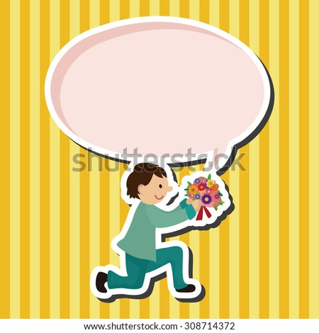 wedding couple, cartoon speech icon - stock photo