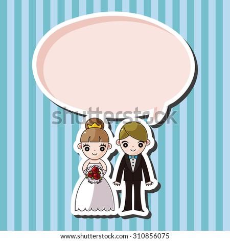 Wedding Couple Cartoon Speech Icon Stock Illustration 310856075