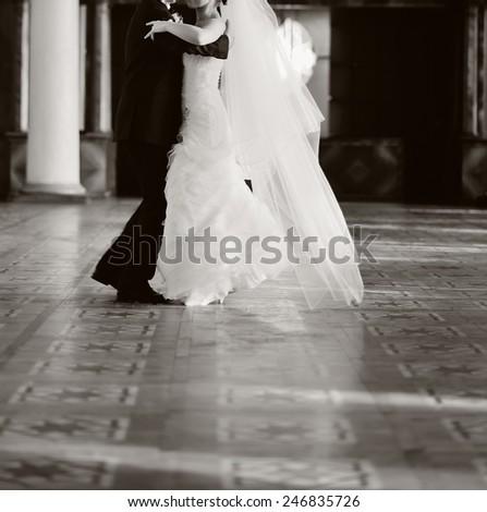 Wedding couple dancing. - stock photo