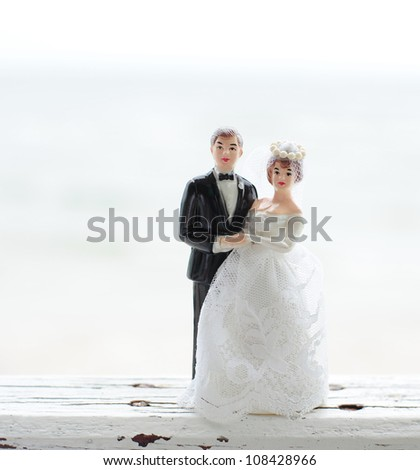 wedding couple doll by the sea - stock photo