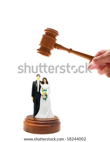 wedding couple figures and court gavel, on white - stock photo