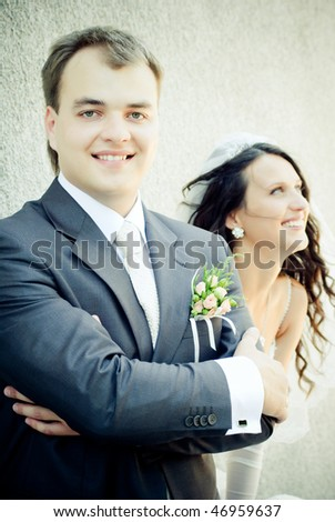 Wedding couple, focus on groom