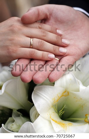 Wedding couple hands