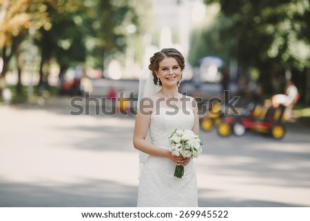 wedding couple on their wedding day - stock photo