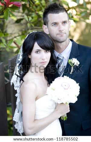 Wedding couple - real people - stock photo