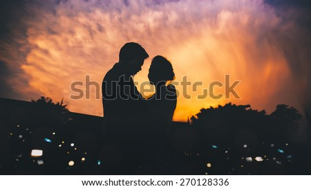 wedding couple silhouette - stock photo