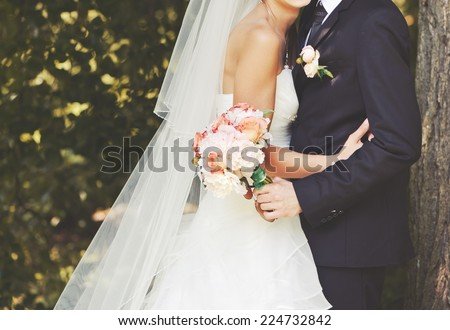 Wedding couple spending happy  day together.  - stock photo