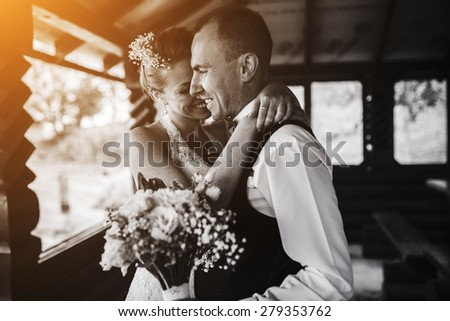 Wedding couple together close to each other - stock photo