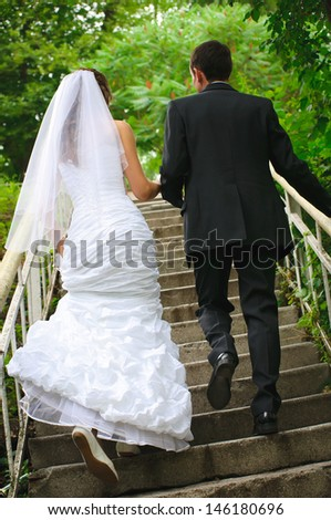 wedding couple walk up to stairs and holding hands. backview - stock photo