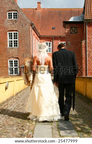 Wedding couple walking. groom and bride marriage celebration. husband in suit and wife in wedding dress - stock photo