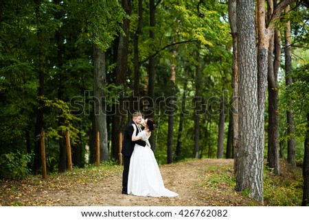 Wedding day: beautiful bride and groom walking in a pine forest - stock photo