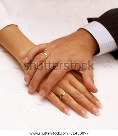 wedding day hands - stock photo