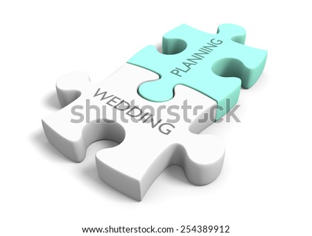Wedding day planning and preparation puzzle concept - stock photo