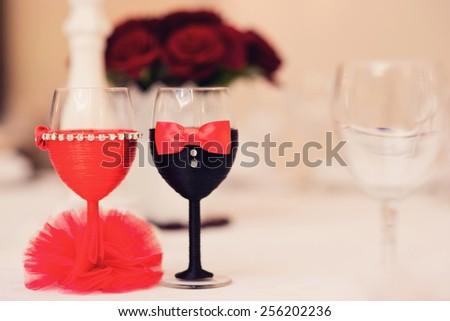 Wedding decor, champagne glasses close up  - stock photo