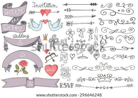 Wedding decor elements set doodles swirl borderarrowsribbons stock wedding decor elements setodles swirl borderarrowsribbons bannerheart junglespirit Image collections