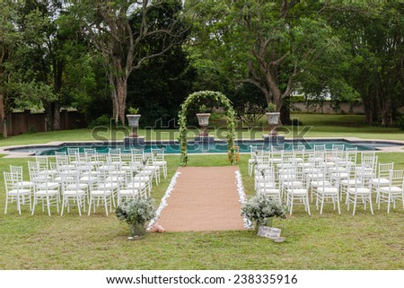 Wedding Decor Home Wedding Decor Chairs Ceremony Lawn Pool Landscape With  Guests Lunch Dinner Table Settings