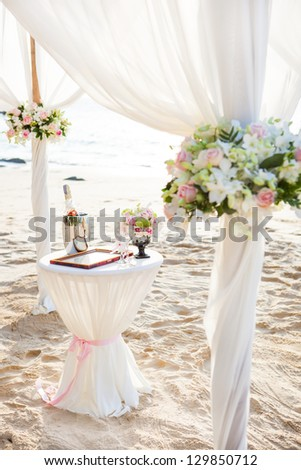Wedding decor on the beach - stock photo