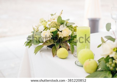 Wedding Decor On The Table With Candle