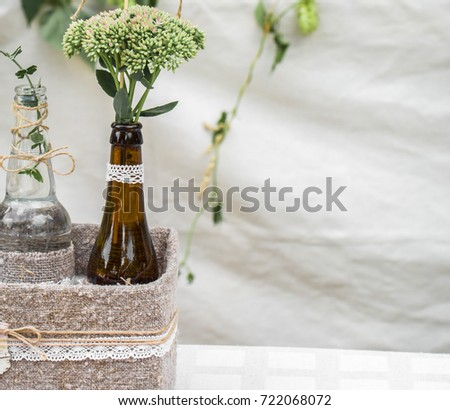 Do it yourself centre stock images royalty free images vectors diy isolated on white background wedding decor with bottles and flowers the concept of the celebration and weddings solutioingenieria Choice Image