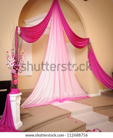 Wedding decoration at the church - stock photo
