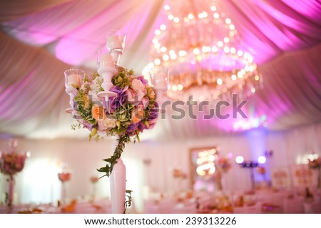 Wedding decoration bouquet with flowers - stock photo