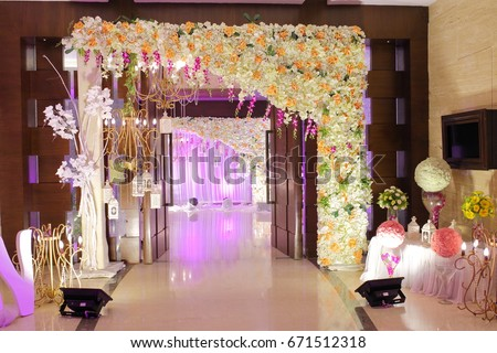 Wedding decoration element lights entrance gate stock photo wedding decoration element lights entrance gate shower drinks flowers couple junglespirit Gallery