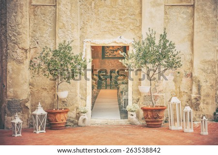 wedding decoration flowers, Tellaro IT - stock photo