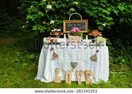 Wedding decoration in forest - stock photo