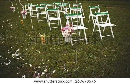 Wedding decoration in  garden. Everything is ready for groom and bride.