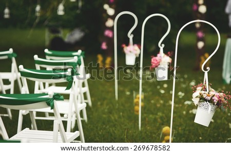 Wedding decoration in  garden. Everything is ready for groom and bride. - stock photo