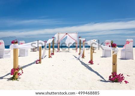 Wedding decoration paradise island maldives stock photo royalty wedding decoration in paradise island maldives junglespirit Choice Image