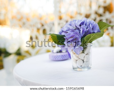 Wedding decoration on table violet flowers stock photo 159165698 wedding decoration on table violet flowers junglespirit