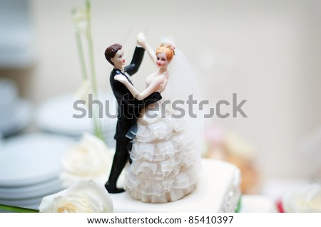 wedding decoration on the cake - stock photo