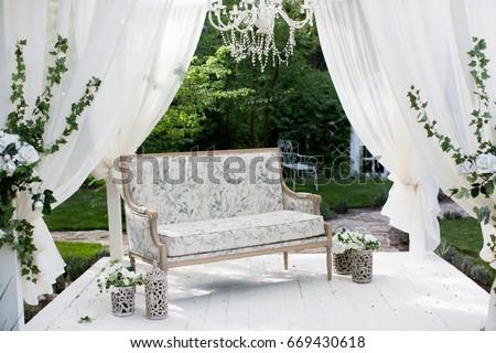Wedding decoration setup sofa flowers stock photo royalty free wedding decoration setup with a sofa and flowers junglespirit Gallery
