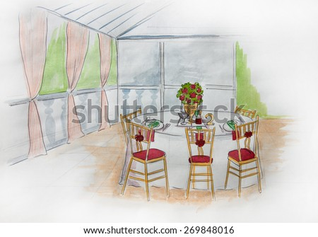 wedding decoration, wedding idea organization and decor style, design, restaurant, indoor, guest places and table style decoration,marriage day, catering, bridal celebration place, marriage day - stock photo