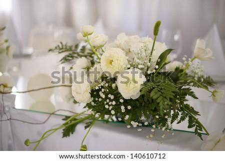 Wedding decoration with white flowers - stock photo