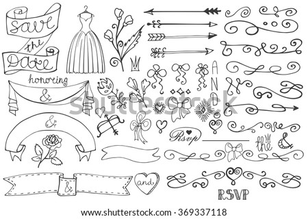 Wedding decorations doodles swirl borderlove decor elements stock wedding decorationsodles swirl borderlove decor elements setntage design template junglespirit Choice Image