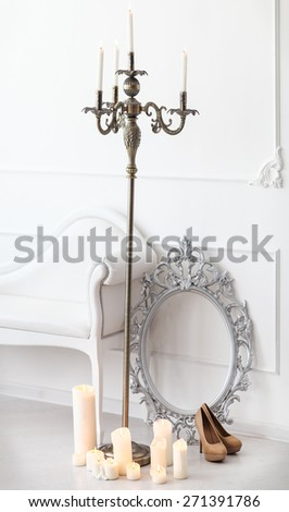 Wedding details with candles. Bridal morning - stock photo