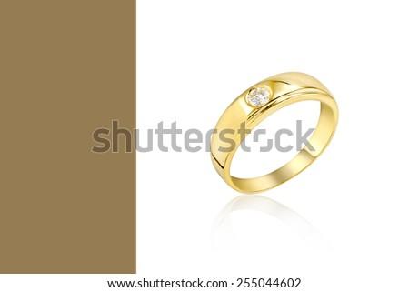 Wedding Diamond Ring on color background - stock photo