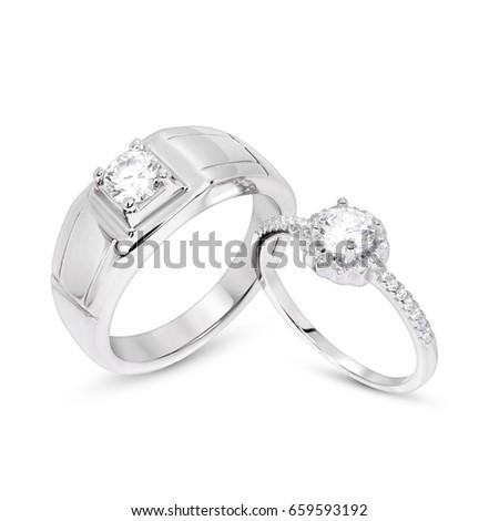 Wedding Diamond Ring White Gold Stock