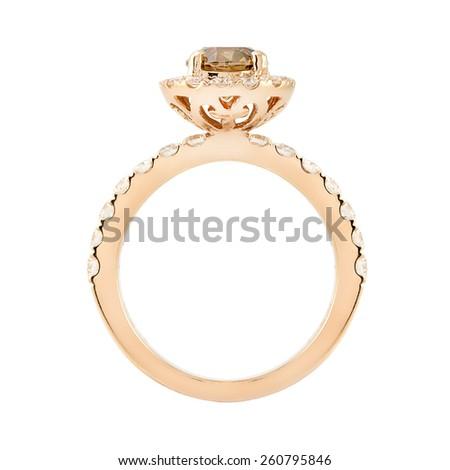 Wedding Diamond Rose Gold Ring isolated on white background - stock photo