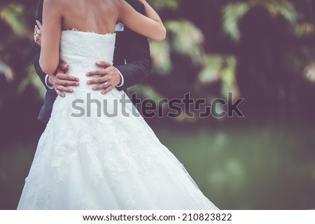 wedding dress and wedding gown - stock photo